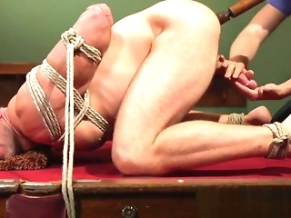bondage Edged chunk gets his aggravation rimmed while tiedup bdsm