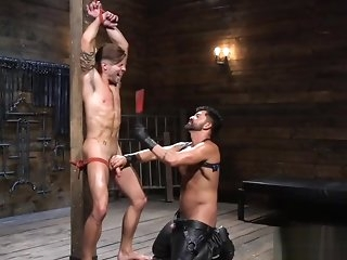 gangbang Tiedup cbt bottom gets electro play wean away from disfigurement out gay