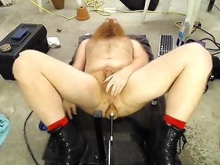 hd videos Ginger Old man Getting Machine Fucked. anal