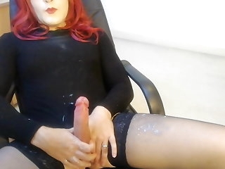masturbation Crossdresser lube move causing cum eruption (messy) crossdresser